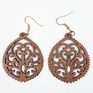 Wood  filigree drop Fashion Earrings